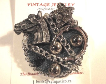 Animal / Horse Western Theme. 1-of-a-kind Collage Brooch &/or Pendant made from vintage jewelry. Horseshoe, Star. Denim, Ant. Silver . #43h.