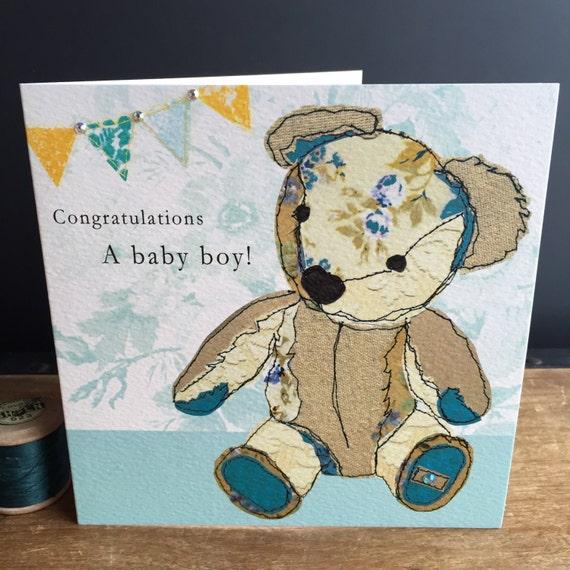 Teddy Boy-Greeting Card- handfinished