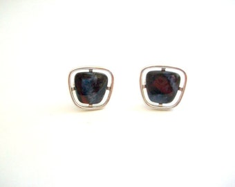Vintage Cuff Links, Stone Cuff Links, Rock Cuff Links, Polished Rock Cuff Links, Blue Cuff Links, Silver Cuff Links, Wedding Cuff Links