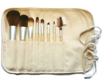 Brush Kit in Rollup Pouch Choose 6 or 8 Vegan Brushes Bamboo Handles for Mineral Powders Application Fabric Blend of Hemp and Cotton