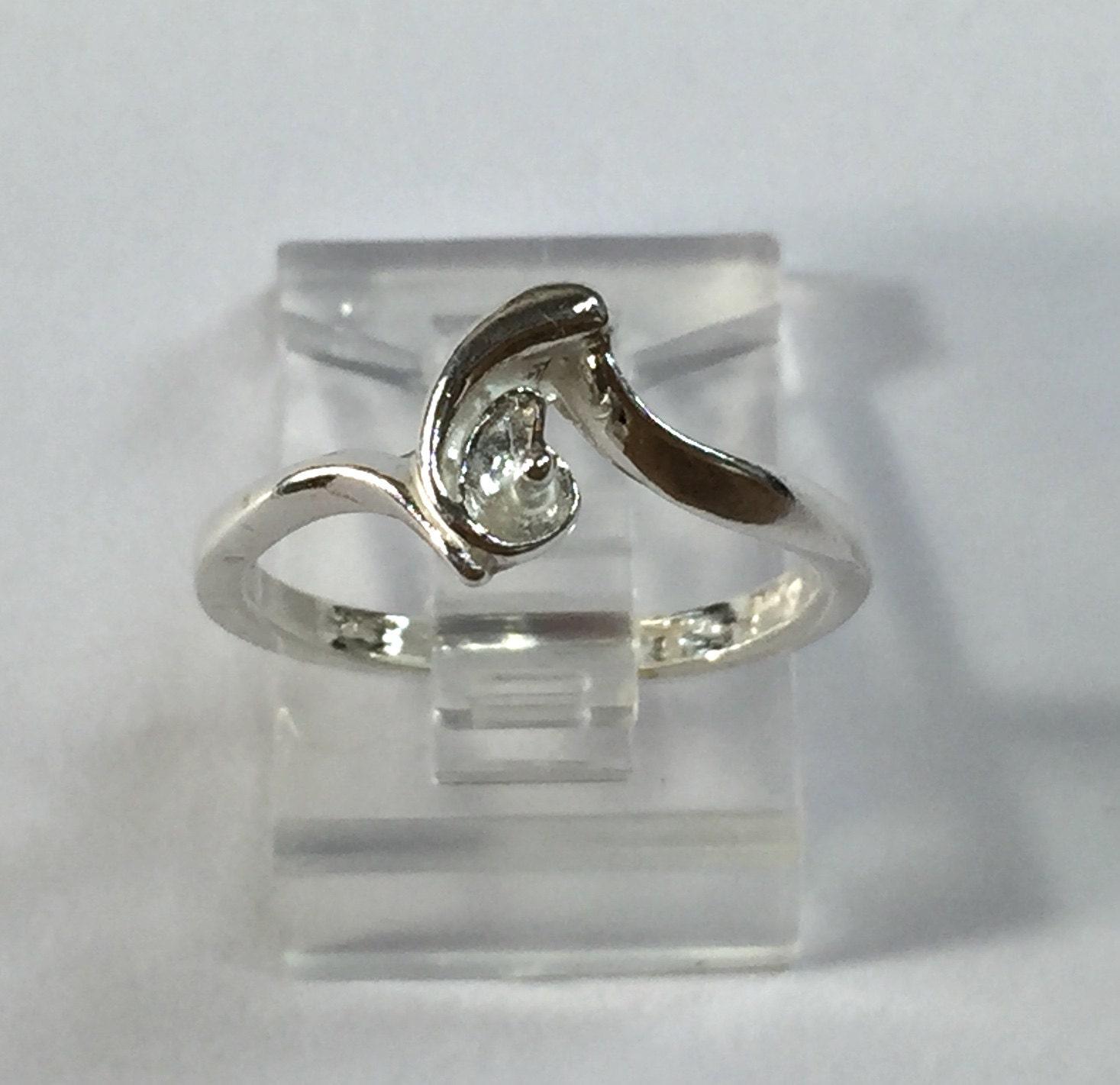sterling silver pearl ring setting for 4 8mm half drilled. Black Bedroom Furniture Sets. Home Design Ideas