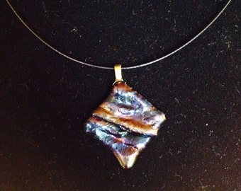 """Dichroic glass necklace blue, black, purple, gold, amber  25mm x 25mm.  Comes with 10"""" black cable choker or 16"""" black satin cord."""