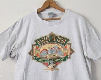 LARGE 1990 Harley Davidson Missoula, Montana Have Wrench Will Travel 3D Emblem Graphic T-Shirt