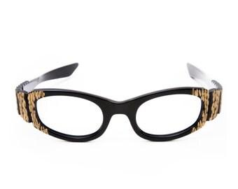 Sculpted Black & Gold Vintage Eyeglasses 1950's