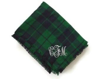 Blue and Green Buffalo Plaid Flannel Monogram Blanket Scarf / Monogram Shall / Monogram Wrap
