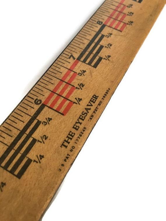 Vintage eyesaver wood ruler twelve inch 2 sided measuring stick 1930s tool