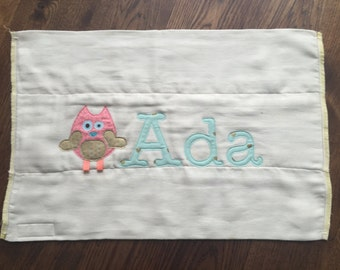 Adorable Owl and Baby's Name Burp Cloth