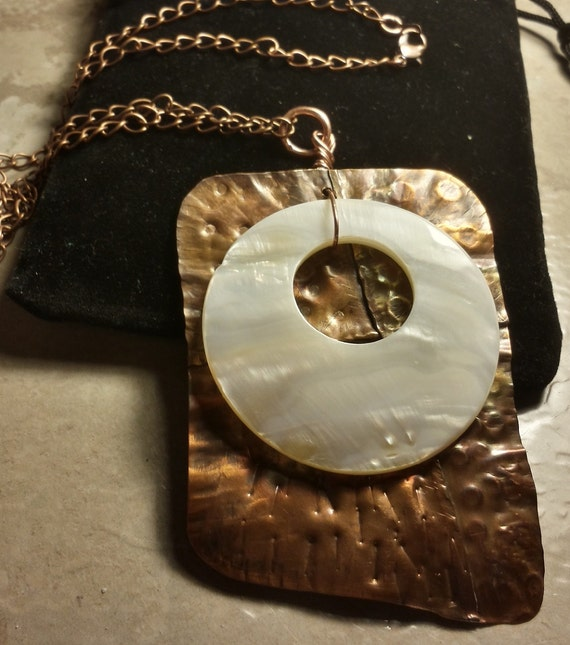 Organic Fold Formed Copper & Mother of Pearl Pendant / Necklace