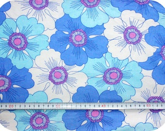 Floral retro vintage fabric - blue, pink and white