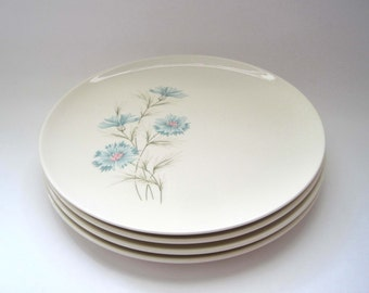 4 Mid Century Vintage 1950s Taylor Smith Taylor Dinner Plates, Boutonniere, Ever Yours Aqua Turquoise on White Floral Dinner Plates