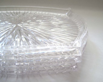 SALE:  Starburst Trays 1950s Clear Lucite Set of 4, Makeup Tray Vanity, Retro Snack Trays Mid Century, Organizer Tray, Bathroom Home Decor
