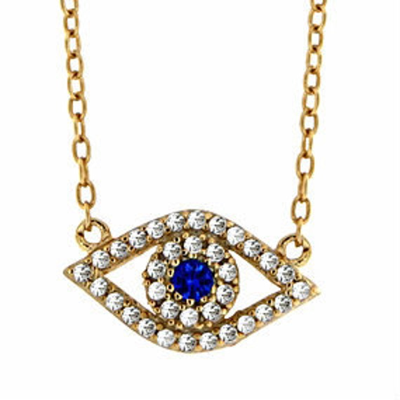 Evil eye necklace, zircon necklace, eye pendant necklace, delicate necklace, gift for her, gold plated with zircons, evil eye charm