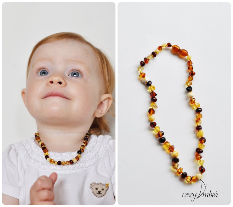 Amber Beads Teething Necklace Baby Handmade Knotted With Safe