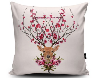 Deer Cushion, Deer Pillow, Flowery Garden Stag Cushion, Decorative Deer Pillow Case, Flower Antlers Cushion Pillow, Vegan Suede