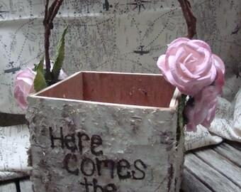 Flower Girl Basket, Shabby Chic, Birch Bark Basket, Engraved