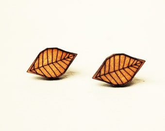 WOODEN STUD EARRING Leaves laser cut wood jewelry (laser cut earrings)