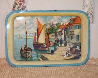 """Colorful sea side port on 15"""" by 10"""" tin tray, sail boats, sea gulls, people and houses"""