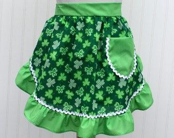 St. Patricks Woman's Half Apron with Pocket St. Patrick's Day Samrocks Green & White Handmade