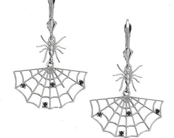14k solid white gold spider web earrings with black diamonds. spider earrings, spider web earrings