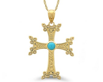 """14k solid gold Armenian cross with genuine turquoise stone on an 18"""" solid gold chain"""