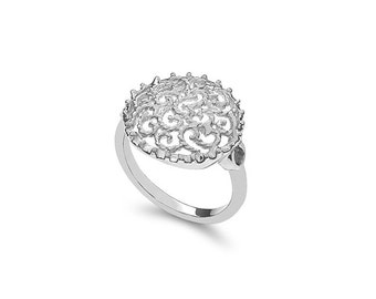 Sterling Silver filigree ring. index ring, fancy ring