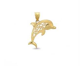 14k Yellow Gold Filigree Dolphin charm.