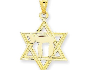 14K Yellow Gold Star of David with Chai, Star of David Pendant, Chai Pendant, Religious Jewelry, Star of David, Chai, Gold Pendant