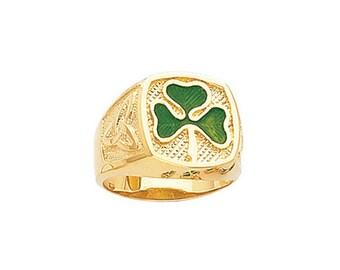 14k Gold Green Enamel Clover Ring, Gold Clover Ring, Green Enamel, Enamel, Clover Ring, Clover, Irish, Irish Ring, Green Clover Ring
