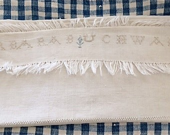 19th C Homespun Linen Show Towel