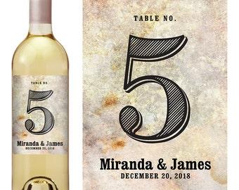 Wine Label Table Number - Wedding Table Number - Wedding Wine Label - Custom Wine Label - Wedding Wine Bottle Label