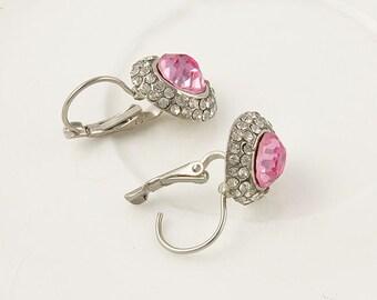 Silver Pink Crystal Drop Earrings