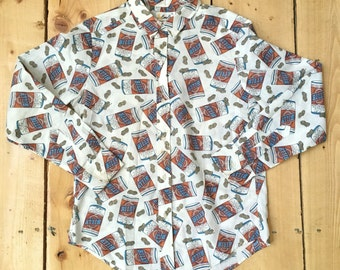 Rare Vintage 70s Billy Beer and Peanuts Button Down Oxford Shirt by Cove Creek - Small