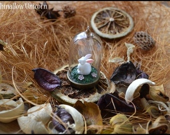 White bunny in glass bottle necklace