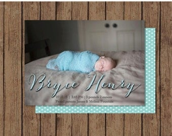 Birth Announcement | Digital FIY Printable or Get them Printed | Two-Sided