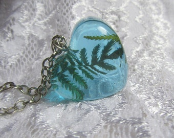 Blue Resin Pendant with Green Fern Heart Resin Necklace Valentine Gift for Her Real Dried Plant Resin Necklace Mother's Day Gift Nature Eco