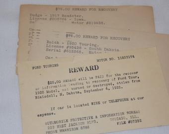 1920's Lot of 3 Stolen Car Reward Postcards
