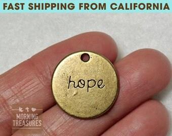 BULK 30pcs Bronze Hope Charms - Circle Hope charm, Antique Bronze Hope Charm - A445