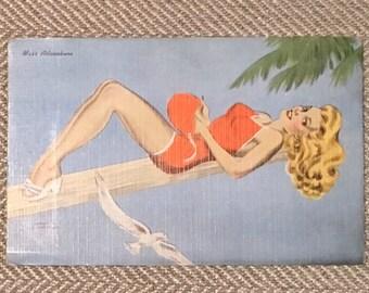 Vintage Postcard -Miss Adventure - Vintage Glamour Girl - Pin Up Girl