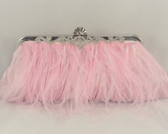 Pink Ostrich Feather Clutch, Pink Evening Handbag, Light Pink Blush Bridal Clutch, Wedding Clutch Pink Feather Evening Bag Light Pink Bridal