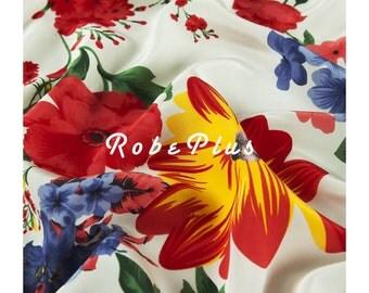 Floral Printed Silk Fabric - Silk Crepe de Chine - Silk CDC Fabric with Bold Floral Print - SF1