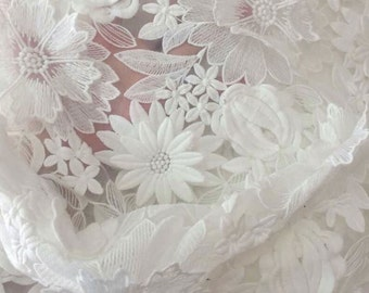 White Organza Embroidery and Appliqué Lace Fabric with Scalloped Edge - Natural White Floral Embroidered Organza Fabric - 3D Appliqué L15-9