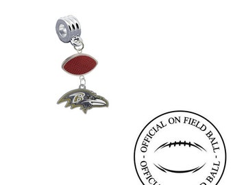 Baltimore Ravens Football European Charm for Bracelet, Necklace & DIY Jewelry Made With Authentic Official On Field Leather Football