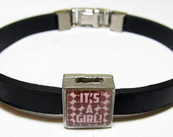 Baby Celebration It's A Girl Link With Choice Of Colored Band Charm Bracelet