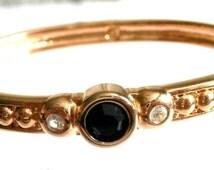 Swarovski Bracelet Gold Plated Hinged Cuff set with Black Crystal Swan Logo 26 g
