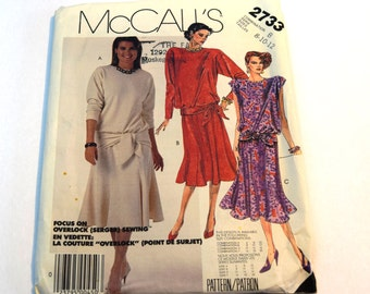 Vintage 1980s McCalls 2733 Misses' pullover dress sewing pattern
