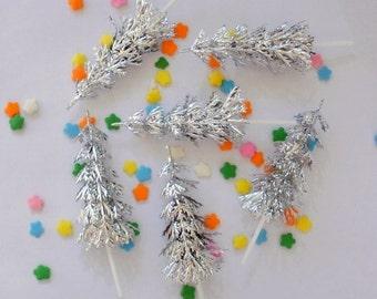Silver Christmas Tree Cupcake Topper Pick - Set of 12