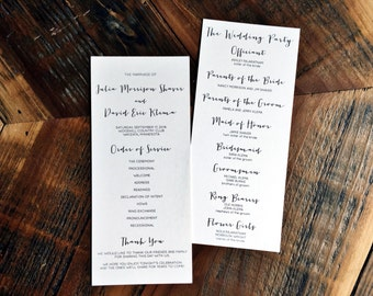 Wedding Programs, Modern Style Font, Elegant Programs, Double Sided Wedding Programs