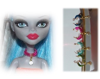Handmade Double Ring Necklace. Fashion Doll Jewelry.  Necklace only, Monster High Doll and dress not included)
