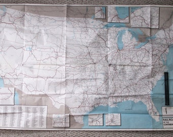 Sale! Vintage Map 'RAILROADS of the Continental United States' published by Railroad Information Service 1991