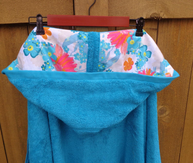Teal Teen Bath Towel With Floral Flannel Large Tween Hooded